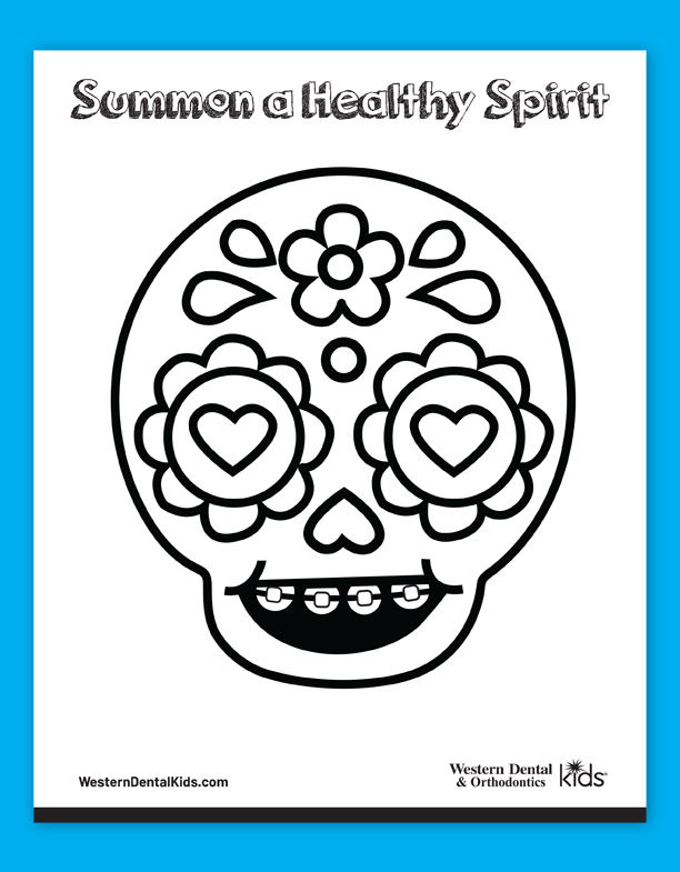 Western Dental Kid's Coloring Sheet - CandySkull 1 Fall 2019