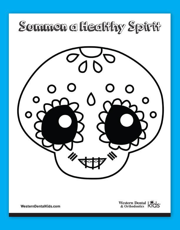 Western Dental Kid's Coloring Sheet - CandySkull 2 Fall 2019