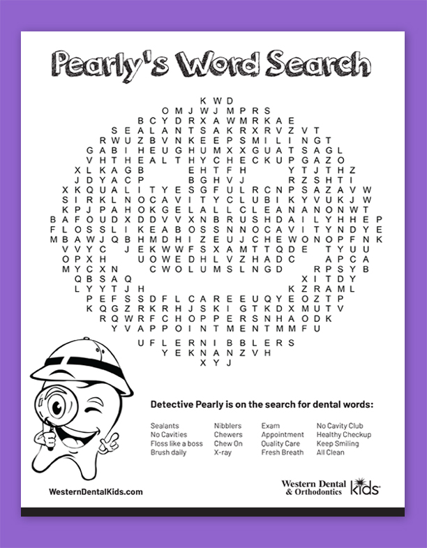 Western Dental Kid's Activity Sheet - Pearly's Word Search Fall 2019